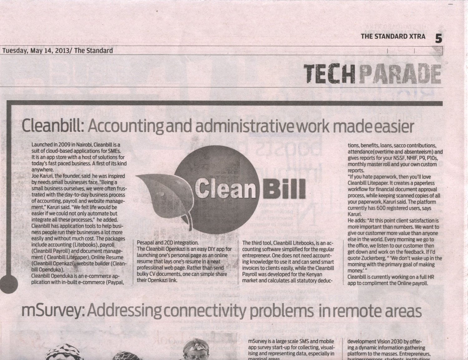 cleanbill featured on the standard newspaper