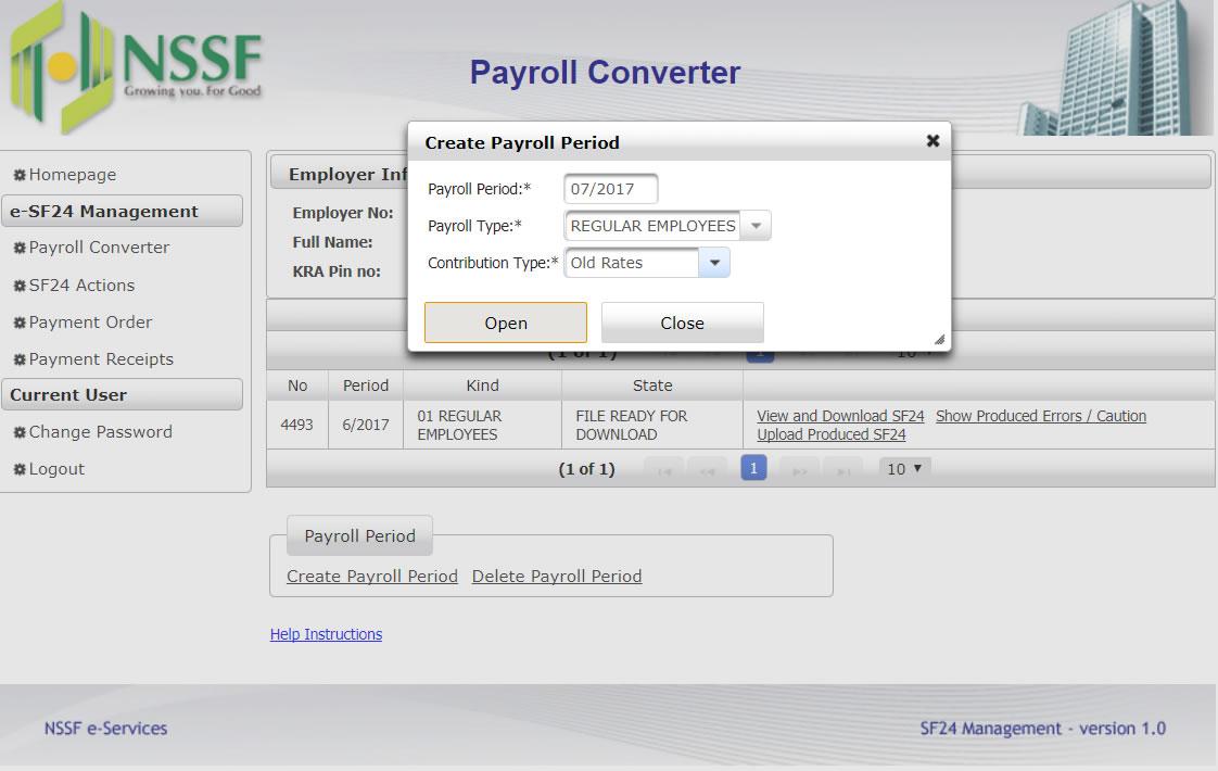 nssf create payroll period