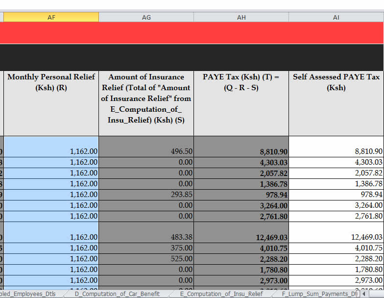 kra itax self-assessed paye
