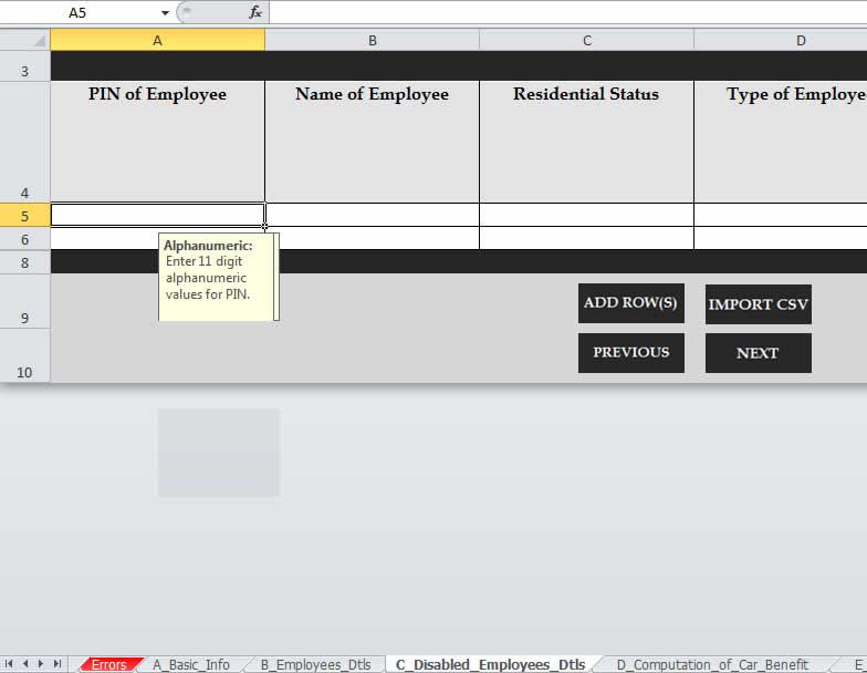 kra itax disabled employee details