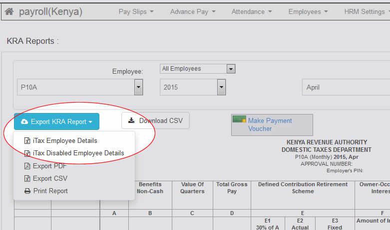 wingubox export to kra itax p10 paye returns