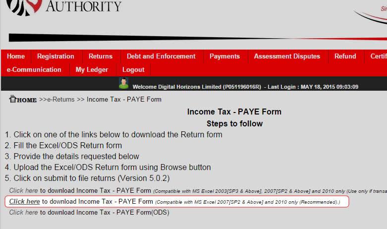 download p10_return.xlsm from kra itax portal